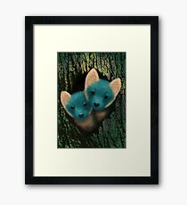 Fox Cubs Peeking Framed Print