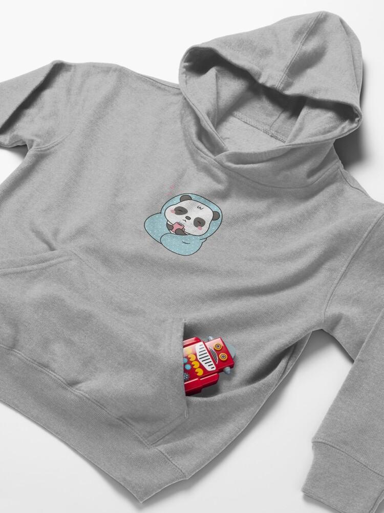 Alternate view of Cute Sleepy Little Panda With Coffee and Blanket Kids Pullover Hoodie
