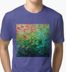 MERMAID SCALES 4 Rainbow Colorful Ombre Ocean Waves Abstract Acrylic Impasto Painting Teal  GreenArt Tri-blend T-Shirt