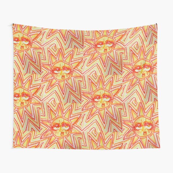 Trippy Orange, Red, and Yellow 60's/70's Inspired Sun  Tapestry