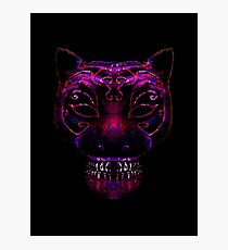Creepy Mask Cat Illustration Photographic Print