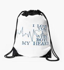 Nerd Valentines: Both my hearts. Drawstring Bag