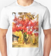 Red Autumn Sycamore Unisex T-Shirt