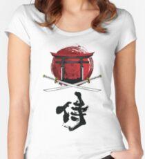 Samurai Katana Tori Tor Kanji Tailliertes Rundhals-Shirt