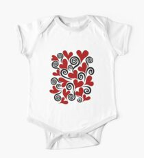 Red Hearts and Swirls One Piece - Short Sleeve