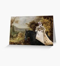 Whippet Art Canvas Print - The rural road and horseride Lady Greeting Card