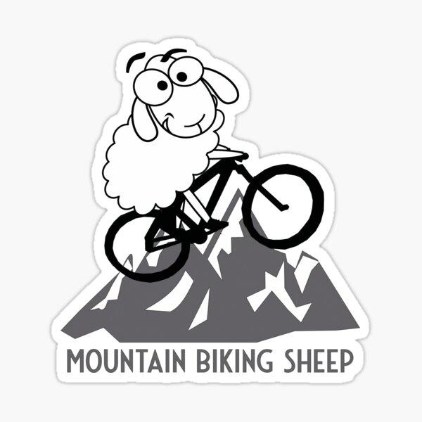 Mountain Biking Sheep Sticker
