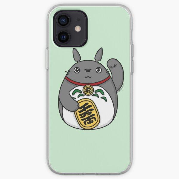 Esprit de la forêt chanceux, chat chanceux Coque souple iPhone