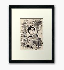 Vintage Woman Flower Garden  Framed Print
