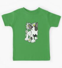 English Bull Terrier Pup Daisies  Kids Tee