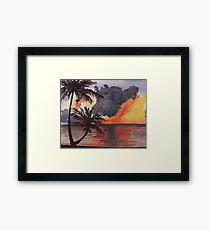 Tropical Sunset, Tranquil Beach Framed Print