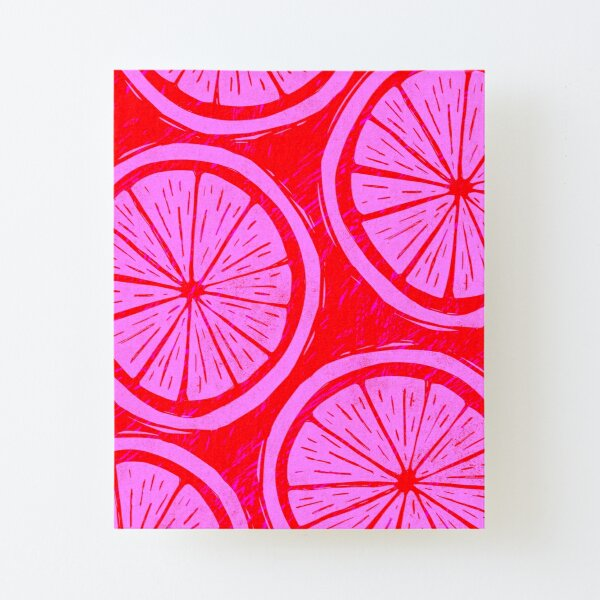 Citrus Block Print Canvas Mounted Print