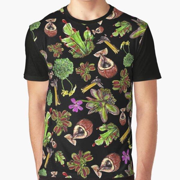 Carnivorous plants black background Graphic T-Shirt