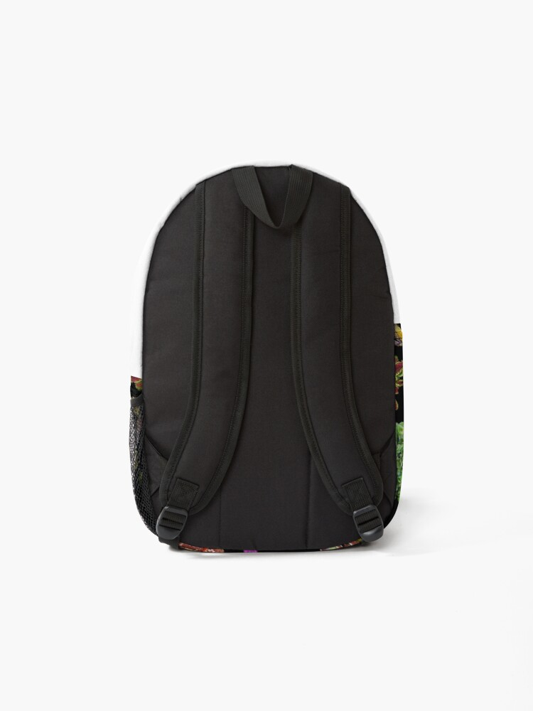 Alternate view of Carnivorous plants black background Backpack