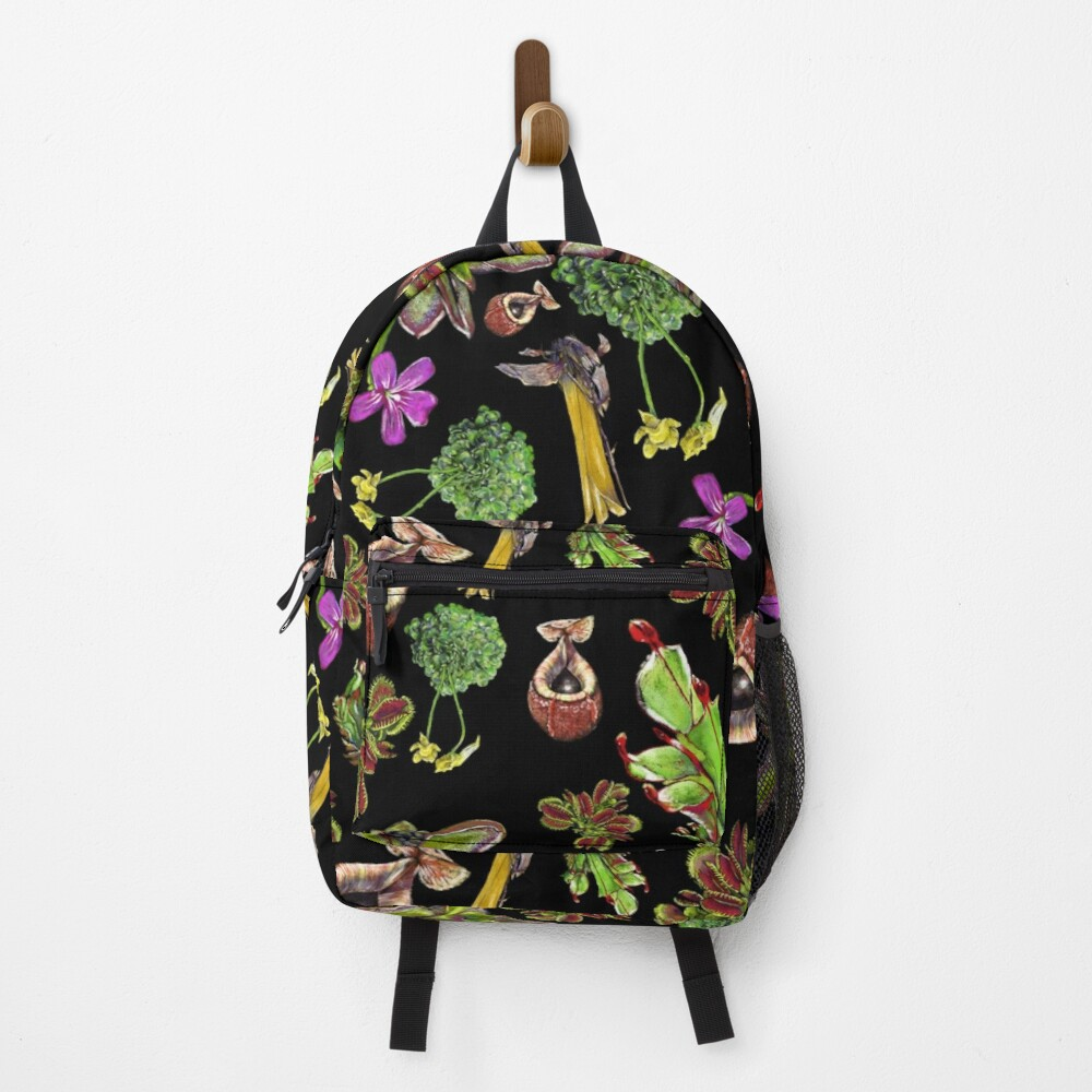 Carnivorous plants black background Backpack