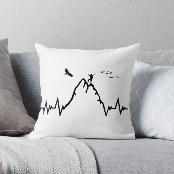 Mountain climber heartbeat - mountain ECG pulse Throw Pillow