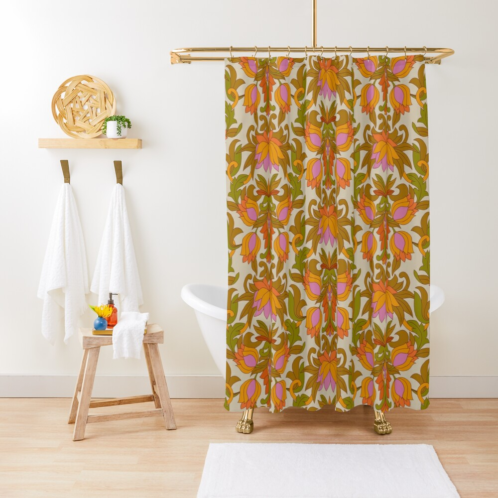 Orange, Pink Flowers and Green Leaves 1960s Retro Vintage Pattern Shower Curtain