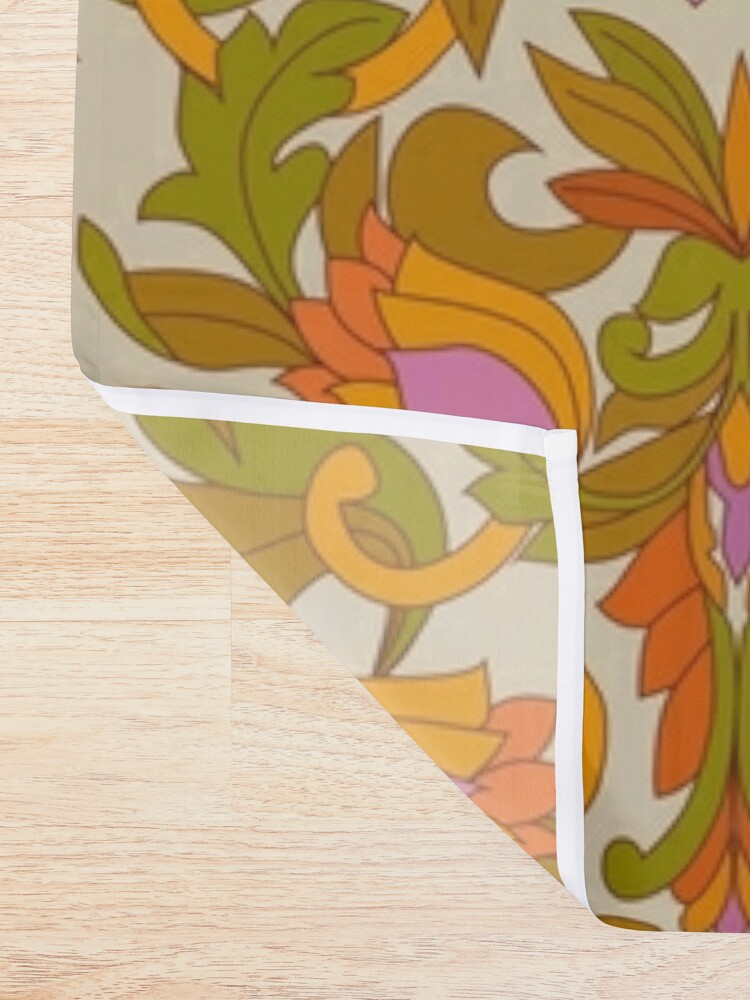 Alternate view of Orange, Pink Flowers and Green Leaves 1960s Retro Vintage Pattern Shower Curtain
