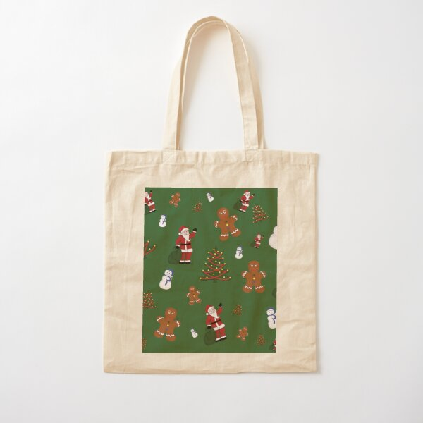 Christmas Goodies On Green Background Cotton Tote Bag