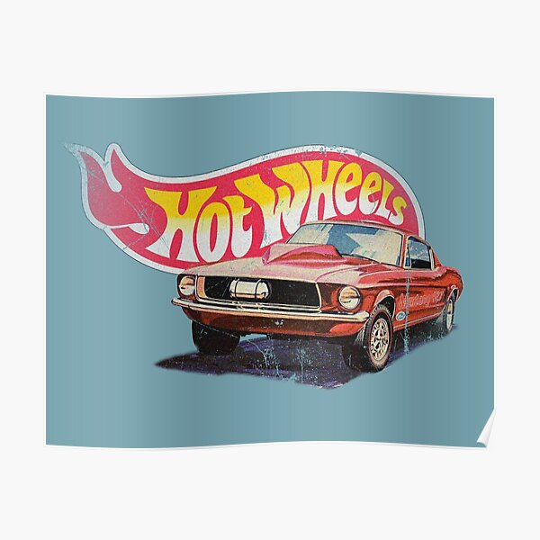 Mustang- 1968 Custom - Vintage, Distressed Hot Wheels 1968 Custom - Rote Linie Poster