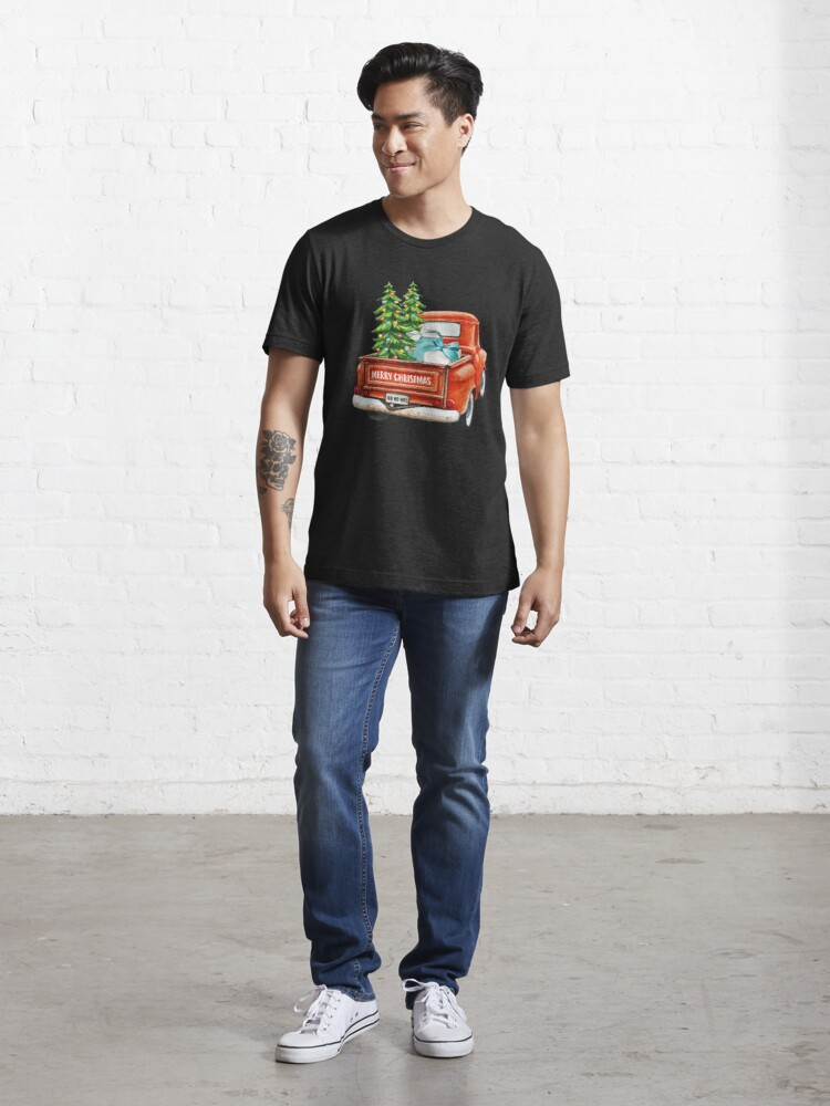Alternate view of Red Truck Pick Up Christmas Tree  Essential T-Shirt