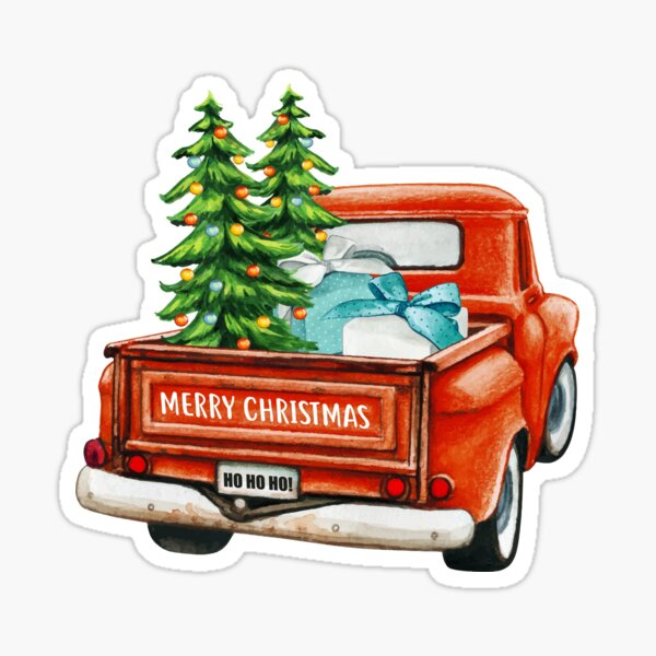 Red Truck Pick Up Christmas Tree  Sticker