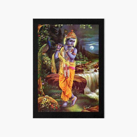 Hindu Lord Krishna God Print Art Board Print