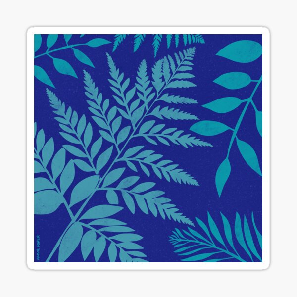 Forest Leaves Blockprint Sticker