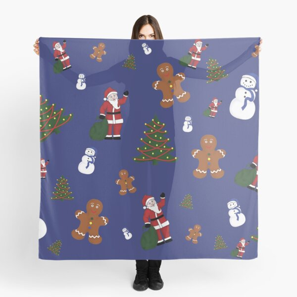 Christmas Goodies On Blue Background Scarf