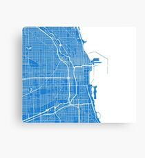 Chicago Map - Light Blue Canvas Print