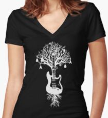 Nature Guitar White Tree Music Banksy Art Women's Fitted V-Neck T-Shirt