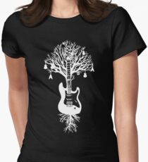 Nature Guitar White Tree Music Banksy Art Womens Fitted T-Shirt