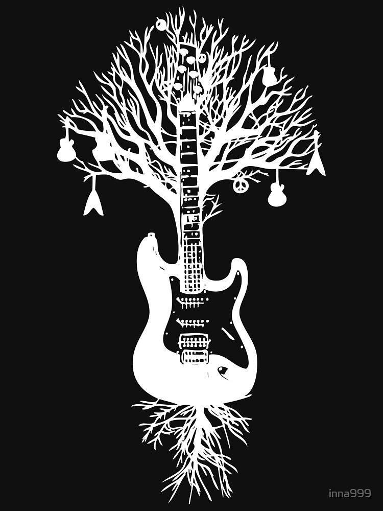 Nature Guitar White Tree Music Banksy Art | Unisex T-Shirt