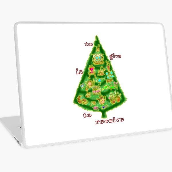 Christmas Whimsical tree with folk art images, give is to receive Laptop Skin