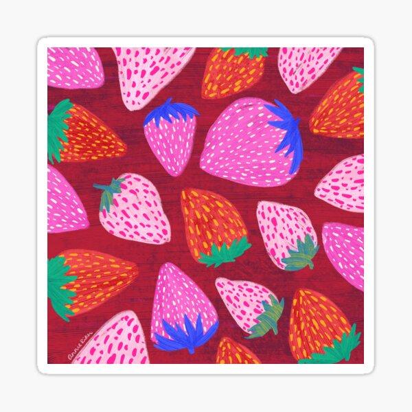 Strawberries on Red Sticker