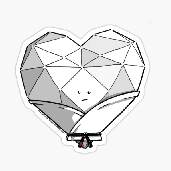 Pin-Sprites - Heart in a Gi - Black and White/Face (Shaded) Sticker