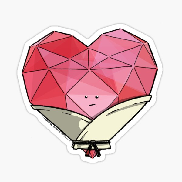 Pin-Sprites - Heart in a Gi - Color/Face (Gem Variant) Sticker