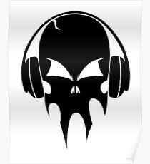Skull with headphones - version 1 - black Poster