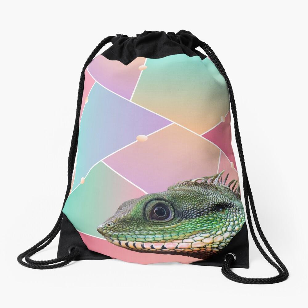 Geometric Pattern Chinese Water Dragon Drawstring Bag