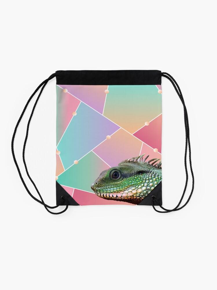Alternate view of Geometric Pattern Chinese Water Dragon Drawstring Bag