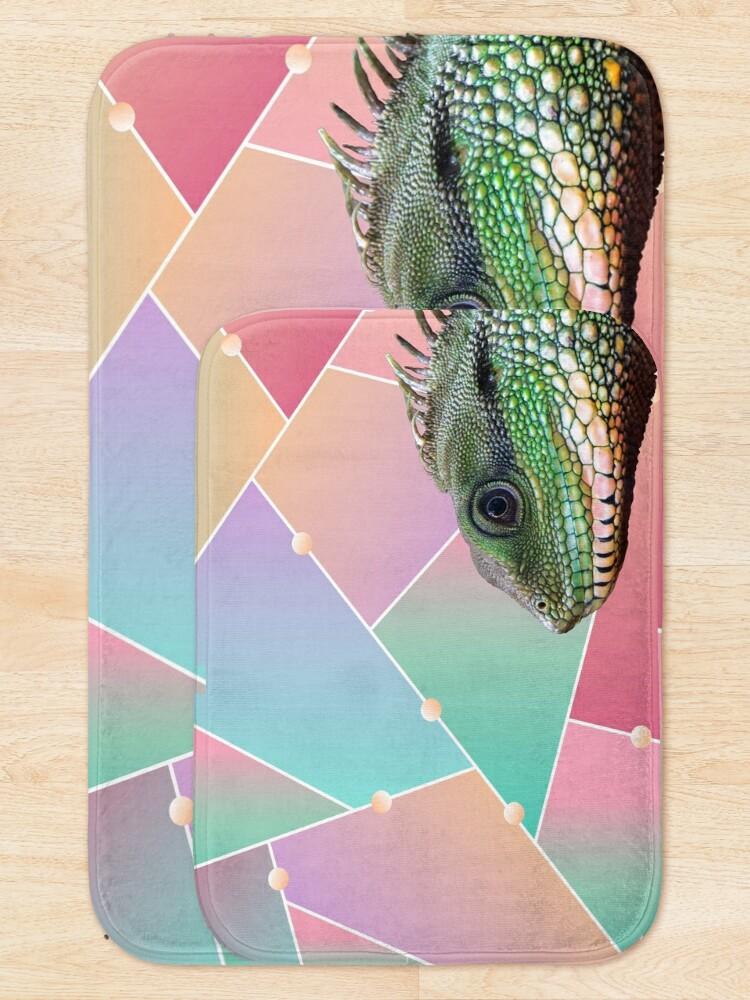 Alternate view of Geometric Pattern Chinese Water Dragon Bath Mat