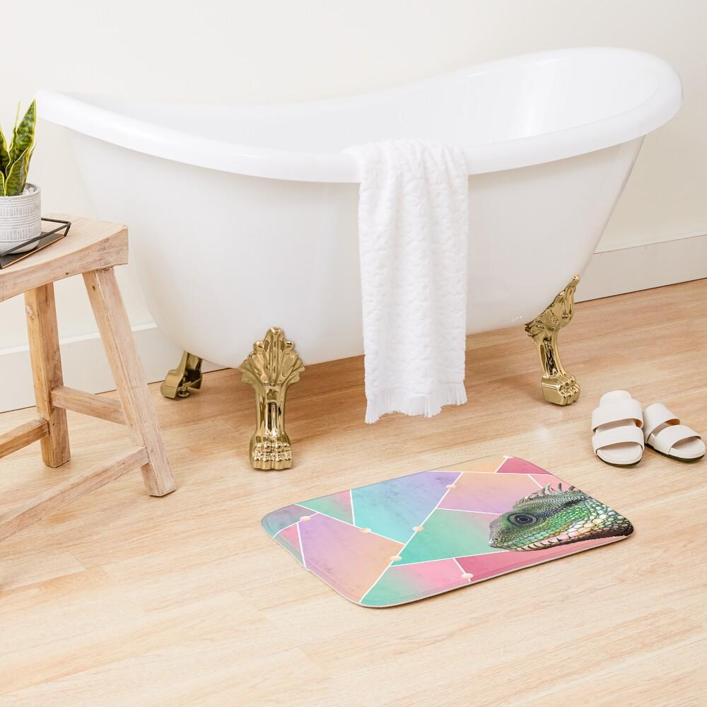 Geometric Pattern Chinese Water Dragon Bath Mat