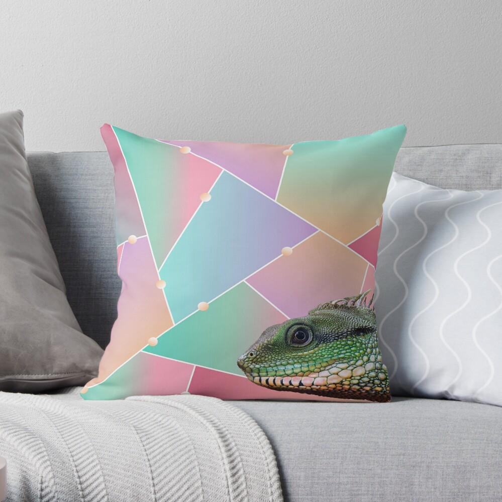Geometric Pattern Chinese Water Dragon Throw Pillow