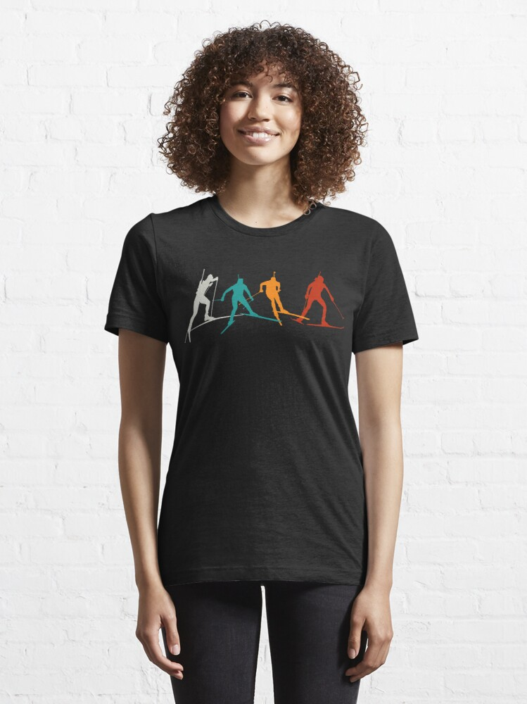Alternate view of Biathlon winter sport combines cross-country skiing and rifle shooting Essential T-Shirt