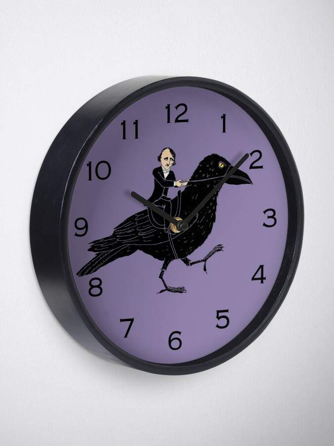 Alternate view of Poe and Raven Clock