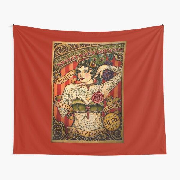 CHAPEL TATTOO; Vintage Body Advertising Art Tapestry