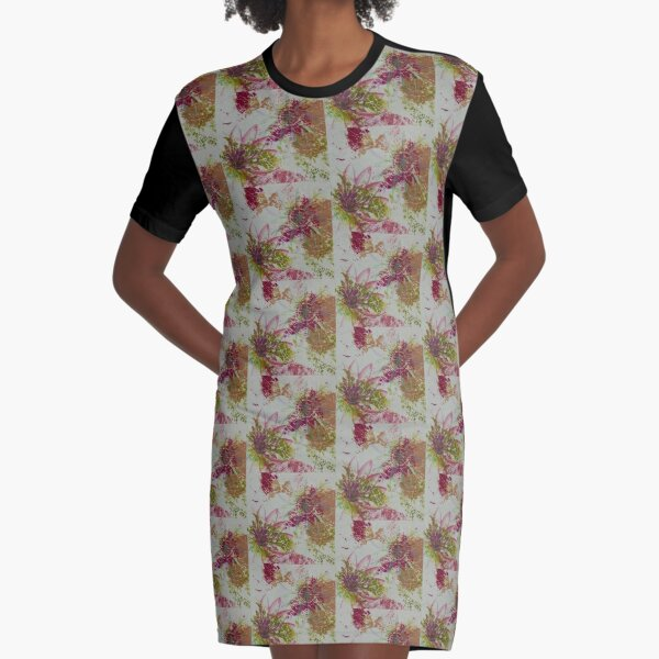 Patterned Flora Graphic T-Shirt Dress