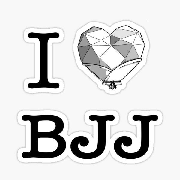 Pin-Sprites - I ❤️️ BJJ - Black and White Sticker