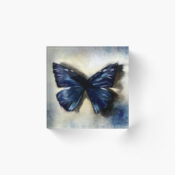 Blue Butterfly Painting Vintage Abstract background Acrylic Block