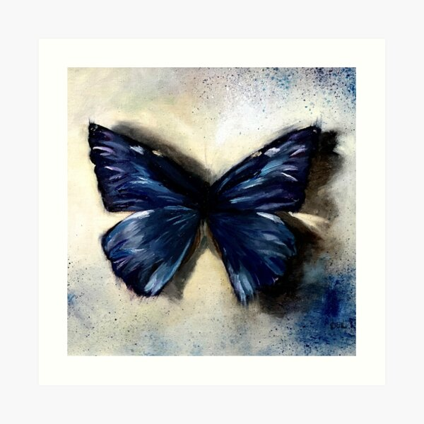 Blue Butterfly Painting Vintage Abstract background Art Print